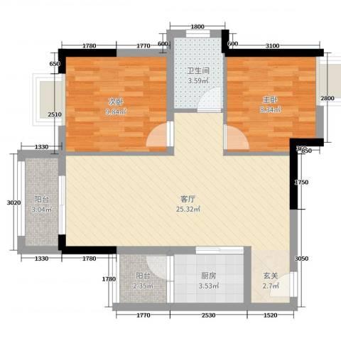 帝豪花园2室1厅1卫1厨71.00㎡户型图
