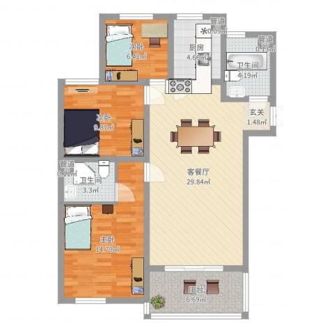 兆盛金色华庭3室2厅2卫1厨100.00㎡户型图