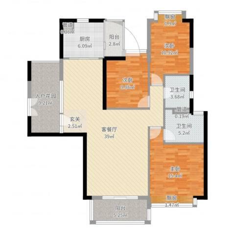 颐德公馆3室2厅2卫1厨135.00㎡户型图