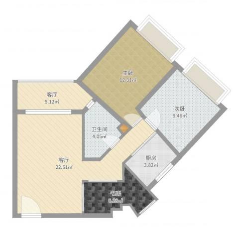 桦润馨居3室2厅1卫1厨78.00㎡户型图