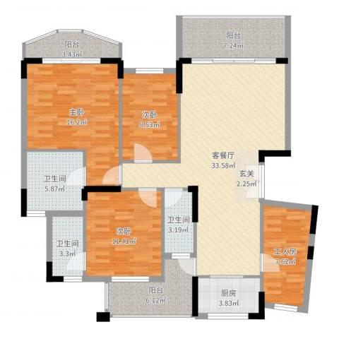 纯水岸花园3室2厅3卫1厨138.00㎡户型图