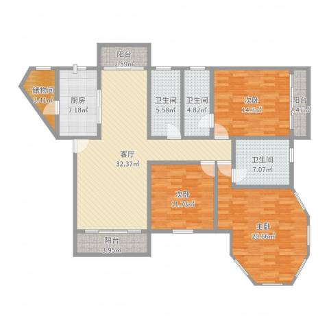 纯水岸花园10座6B3室1厅3卫1厨145.00㎡户型图