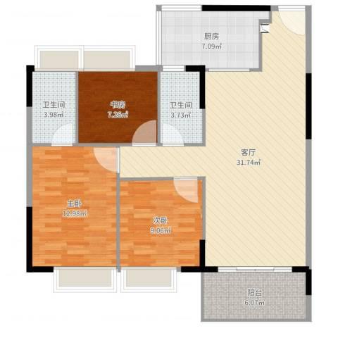 万威美地3室1厅2卫1厨102.00㎡户型图