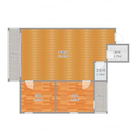 南洲花苑2室2厅1卫1厨67.50㎡户型图