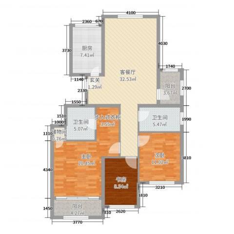 金象泰吉祥家园3室2厅2卫1厨124.00㎡户型图