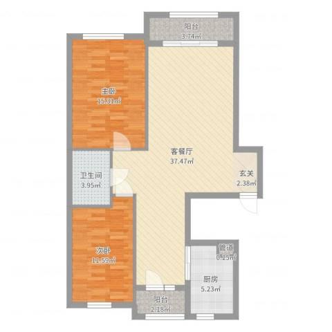 君悦国际城2室2厅1卫1厨100.00㎡户型图