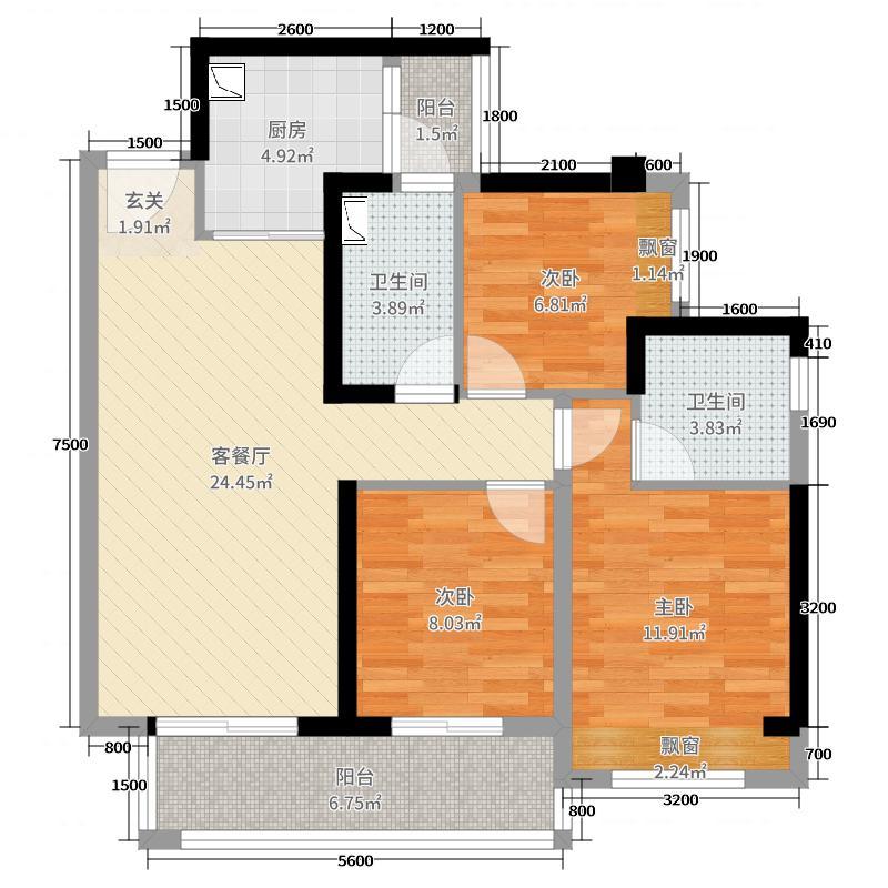 龙湖三千庭92.00㎡高层5栋标准层A3户型3室3厅2卫1厨