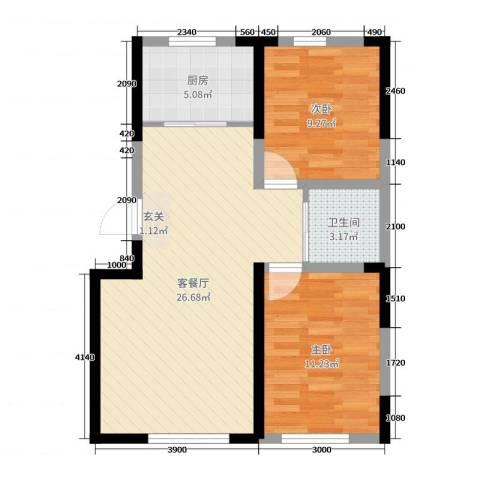 万家翔悦2室2厅1卫1厨91.00㎡户型图