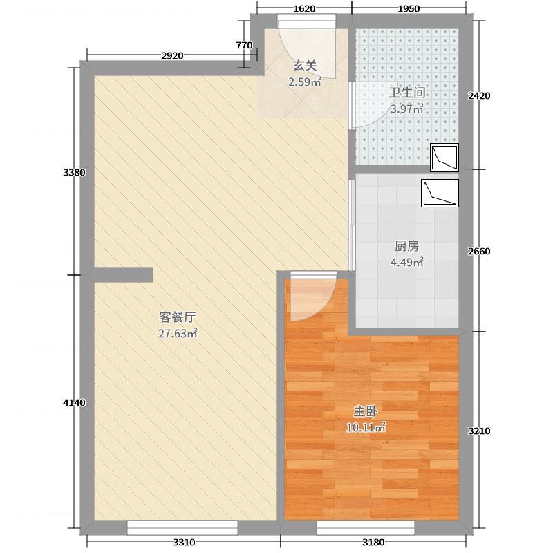 远洋・新兴公馆57.79㎡G2户型1室1厅1卫1厨