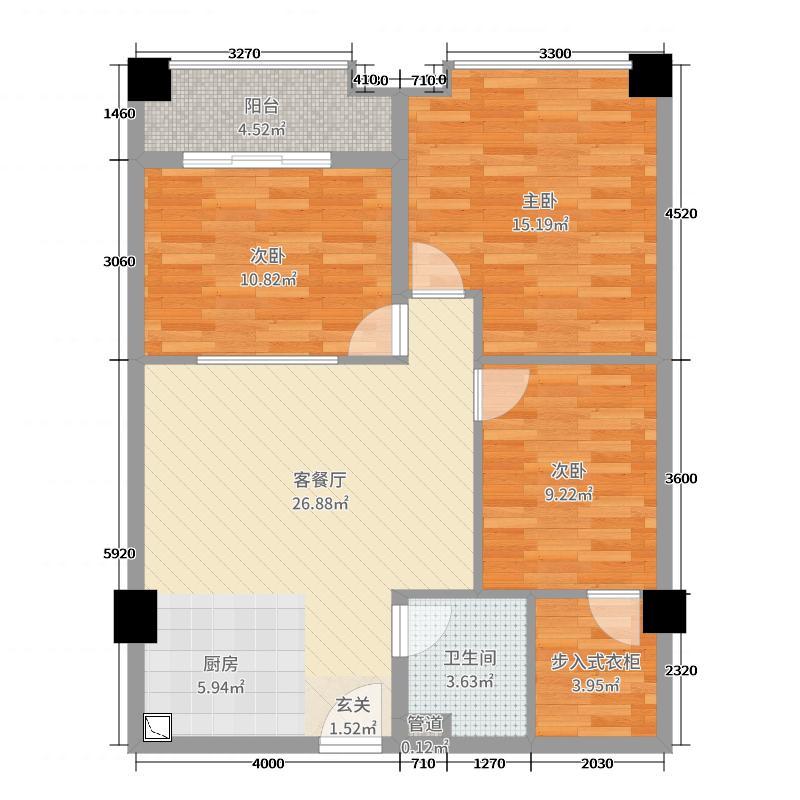 华南茶叶创意园菁英时代104.00㎡光芒绽放户型3室3厅1卫1厨