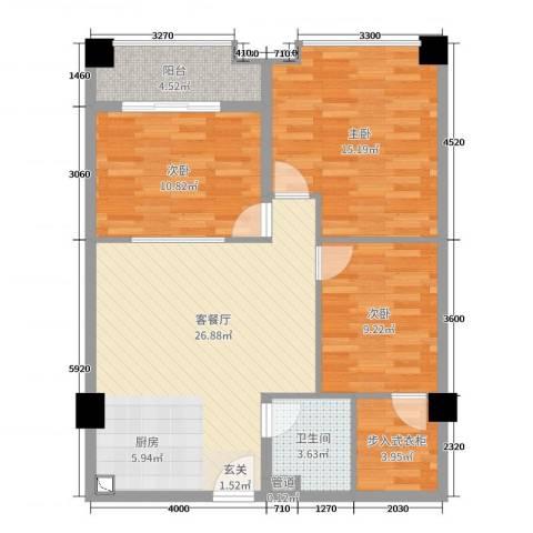 华南茶叶创意园菁英时代3室2厅1卫0厨104.00㎡户型图