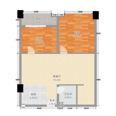 华南茶叶创意园菁英时代2室2厅1卫0厨104.00㎡户型图
