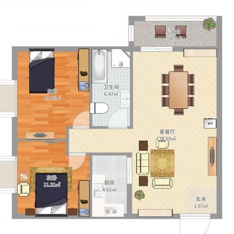汉华花园2室2厅1卫1厨94.00㎡户型图