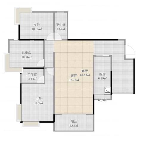 新世界花园3室1厅2卫1厨131.00㎡户型图