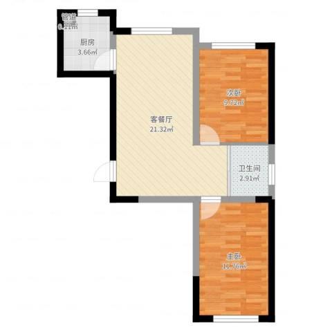蓝色港湾2室2厅1卫1厨62.00㎡户型图