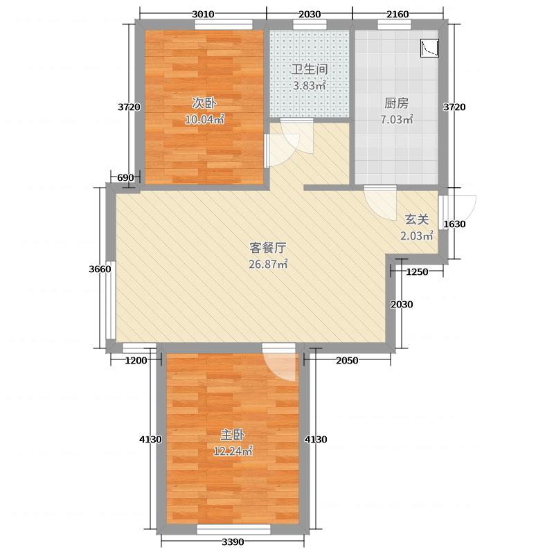 宏都熙景75.00㎡15、16号楼A2户型2室2厅1卫1厨