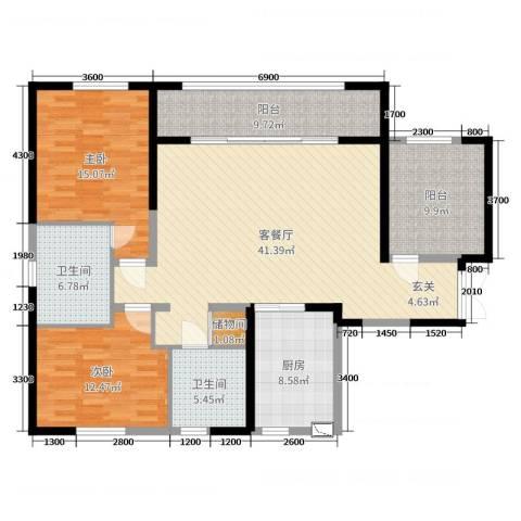万科紫台2室2厅2卫1厨144.00㎡户型图