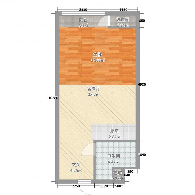 中盟财富中心57.26㎡公寓C户型1室1厅1卫1厨