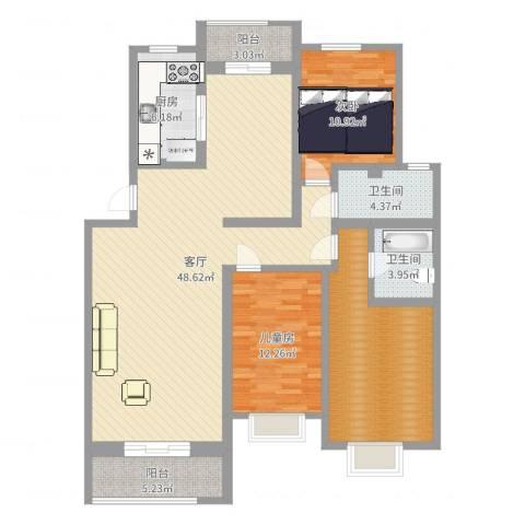 紫薇田园都市2室1厅2卫1厨136.00㎡户型图