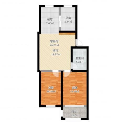 东骏阅山2室2厅1卫1厨80.00㎡户型图
