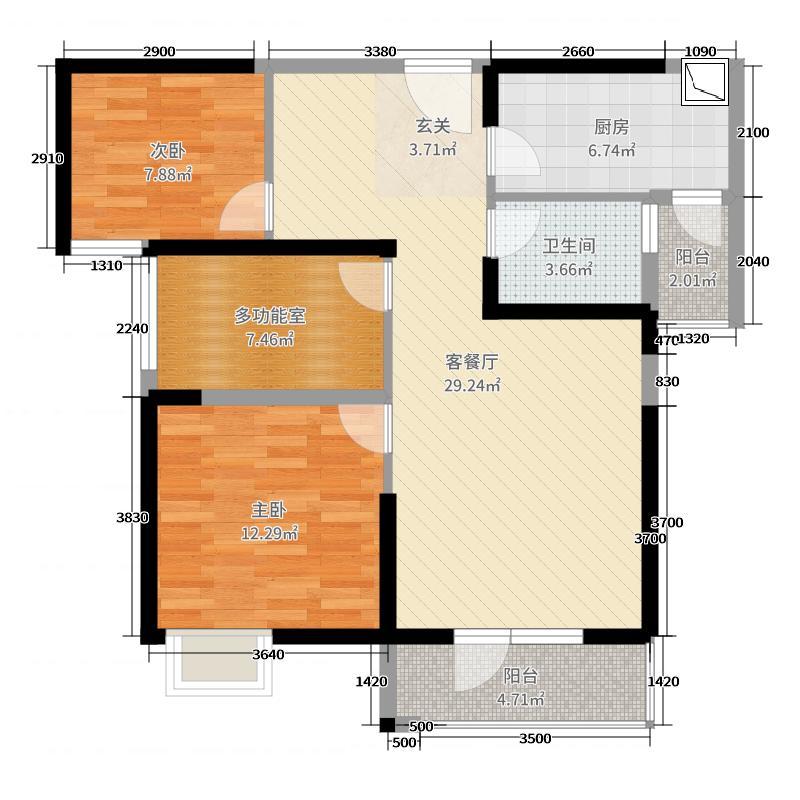 福星惠誉红桥城92.44㎡8、9号楼D户型3室3厅1卫1厨