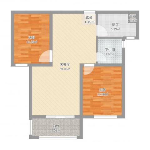 月城熙庭2室2厅1卫1厨87.00㎡户型图