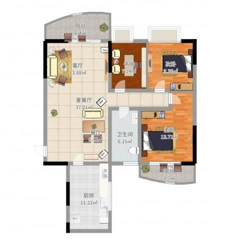 三十所宿舍3室2厅1卫1厨118.00㎡户型图