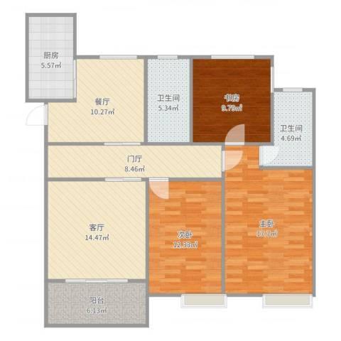 奥克斯盛世缔壹城3室2厅2卫1厨118.00㎡户型图