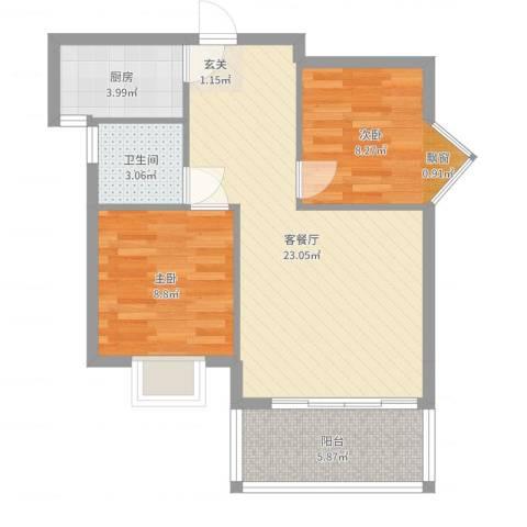 禧福泛海时代2室2厅1卫1厨66.00㎡户型图