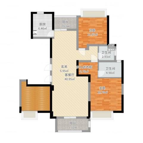 和安家园2室2厅2卫1厨132.00㎡户型图
