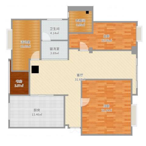 盐城紫薇花园3室3厅3卫1厨130.00㎡户型图