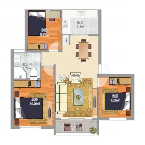 钱湖人家3室1厅1卫1厨88.00㎡户型图