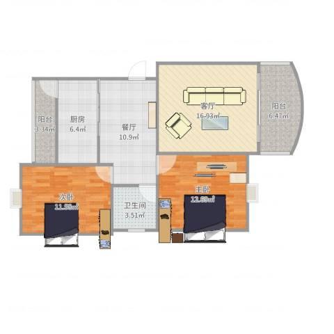 同方锦城二期2室2厅1卫1厨90.00㎡户型图