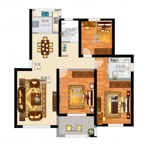 钱湖人家3室2厅2卫1厨111.00㎡户型图