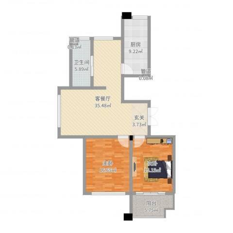 金宸公馆2室2厅1卫1厨110.00㎡户型图