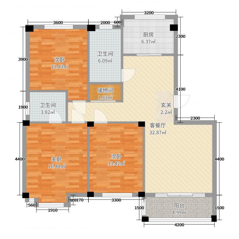 中北金岭世嘉119.50㎡A户型3室3厅2卫1厨