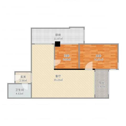 天创世缘2室1厅1卫1厨103.00㎡户型图