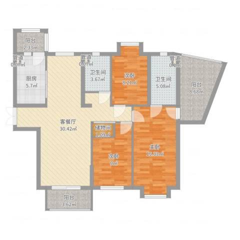 拉德芳斯3室2厅2卫1厨117.00㎡户型图