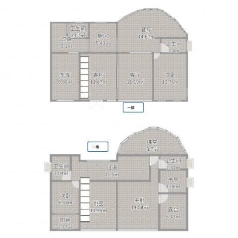 同润别庄1914室3厅4卫1厨180.00㎡户型图