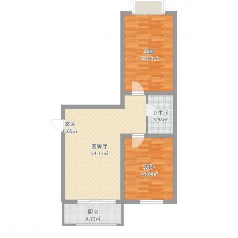 友谊馨居2室2厅1卫1厨76.00㎡户型图