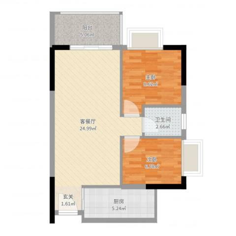 千禧嘉园2室2厅1卫1厨67.00㎡户型图