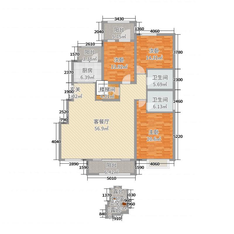 天山熙湖二期184.00㎡8#洋房顶层户型4室4厅2卫1厨