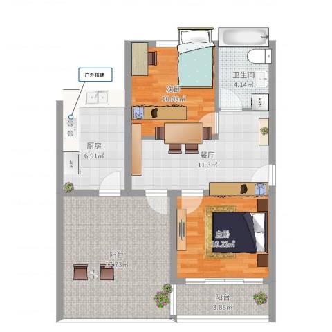 金地小区2室1厅1卫1厨80.00㎡户型图
