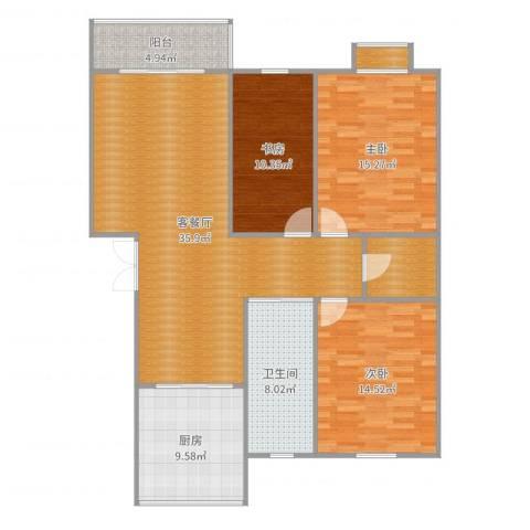 金湖家园3室2厅1卫1厨129.00㎡户型图