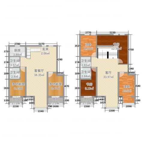 跃界4室3厅4卫1厨186.00㎡户型图