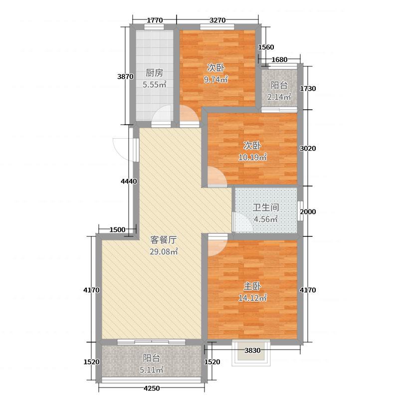 正基小镇112.23㎡QQ截图20120711090840户型3室3厅1卫1厨