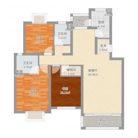 昆山花园3室2厅5卫1厨109.00㎡户型图