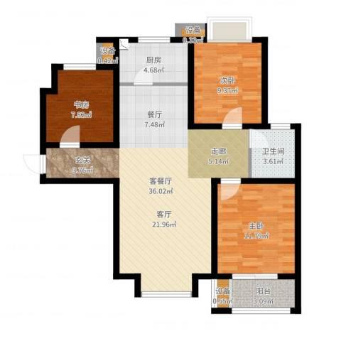 北斗星城御府3室2厅1卫1厨97.00㎡户型图