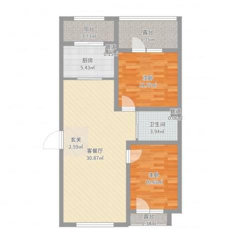 天盛名都2室2厅1卫1厨91.00㎡户型图
