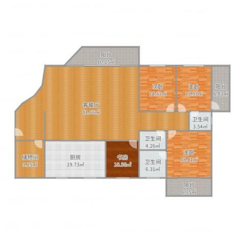 乔康大厦4室2厅3卫1厨207.00㎡户型图